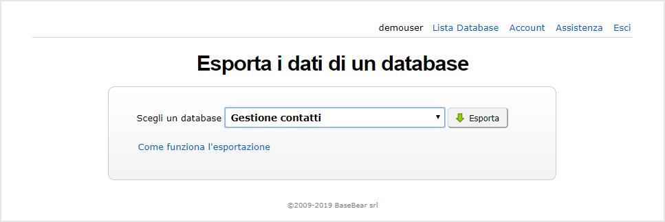 Esporta database